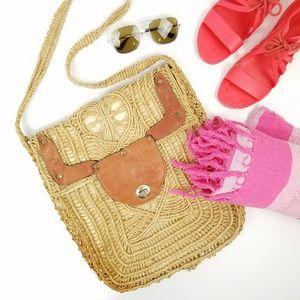 Vintage Woven Jute Leather Bag